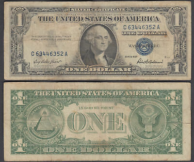 USA 1 Dollar 1957 (F-VF) Banknote Silver Certificate Blue Seal United States