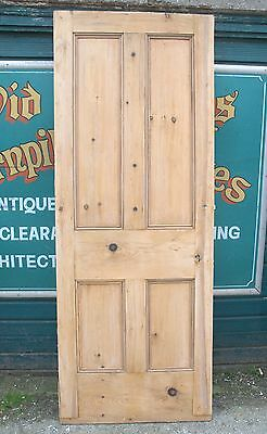 4065 Old reclaimed Victorian four panel door-stripped pine