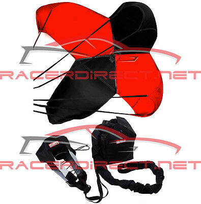 Drag Racing Parachute Spring Loaded Drag Safety Chute Black & Red Racerdirect