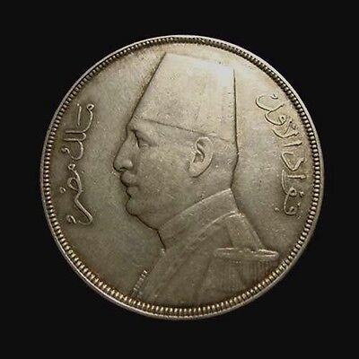EGYPT. FOUAD 1st. Silver 20 PIASTRES 1933/ AH 1352. Very nice. Mintage 25,000!