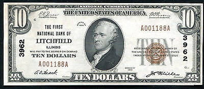 1929 $10 The First Nb Of Litchfield, Il National Currency Ch. #3962 Gem (E)