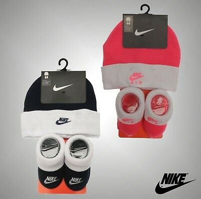 Unisex Babies Genuine Nike Logo Gift 2 Pieces Soft Block Hat And Booties Set
