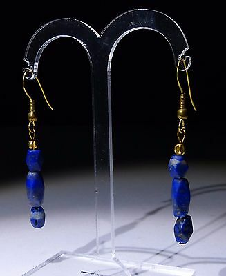 Ancient Lapis & Gold Bead Earrings - Circa 2Nd Century Ad - No Reserve!