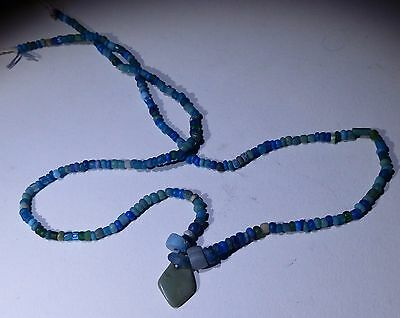 Ancient Roman Light Blue Glass Bead Necklace Circa 2Nd Century Ad - No Reserve