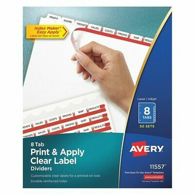 AVERY 11557 Printable Index Dividers, 8 Tab, White, Pk50