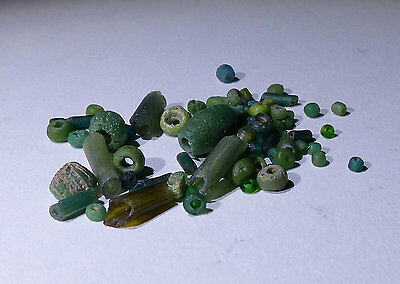 Ancient Roman Green Glass Beads Circa 2Nd Century Ad - No Reserve 0049