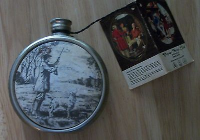English Pewter Sheffield Flask With Original Tag