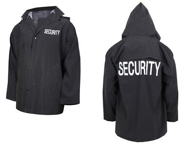 Store Mall Security Guard Officer Police Black Rain Coat Jacket w Removable Hood
