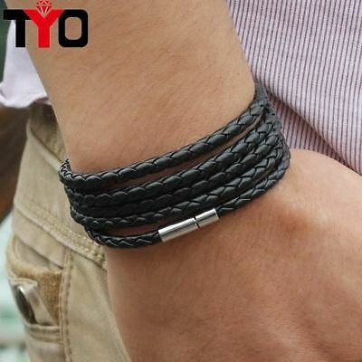 5 layer Leather Bracelet Round Rope Turn Buckle Bracelet For Women Men