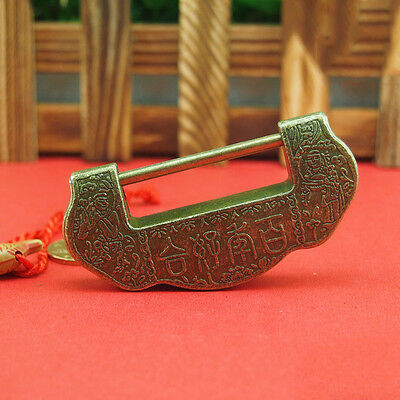 Chinese Vintage Antique style excellent Brass Carved Word padlock lock/key