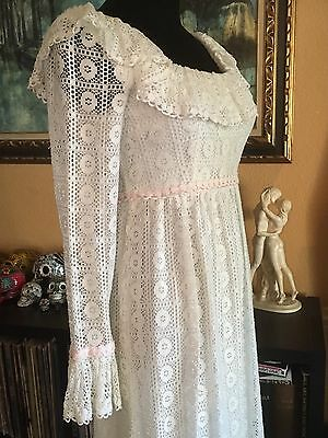 VINTAGE 70's LORRIE DEB OFF WHITE LACE SUMMER MAXI DRESS WEDDING HIPPIE BOHO S