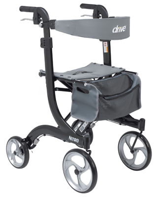 Drive Medical Tall Nitro Rollator Folding Walker Adult 10266BK-T Black ~~NIB~~