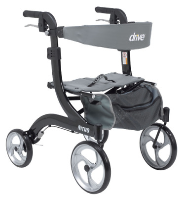 Drive Medical Hemi Nitro(Short) Rollator Folding Walker Adult 10266BK-H Black