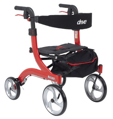 Drive Medical Hemi(Short) Nitro Rollator Folding Walker Adult 10266-H Red *NEW*
