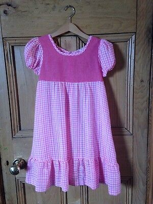 Vintage Ladybird Dress Age 8, Pink Gingham Puff Sleeve