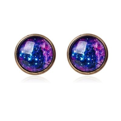 Earrings Space Glass Dome Cabochon Earrings Vintage Silver Earrings for Women