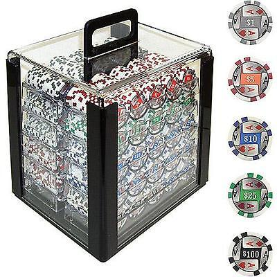 Trademark Poker 1000 11.5 Gram 4 Aces with Denominations Chips in Acrylic...