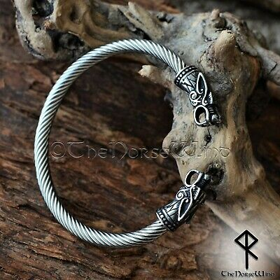 Viking Bracelet Odin's Raven Head Bangle Silver Solid Hand Crafted Ragnar Cuff