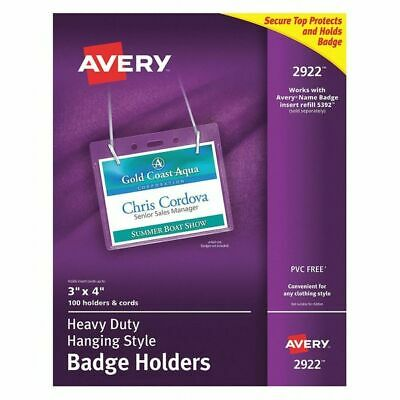 AVERY 2922 Necklace Badge Holder,100,Clear,PK100