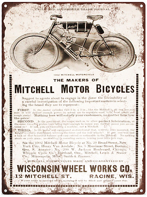 1902 Mitchell Motorcycle Advertising Ad Baked Metal Repro Sign 9x12 60146