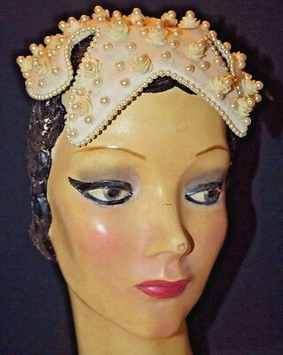 Vintage Bes Ben Hat,flowers With Pearls, Ivory Color, Pearl Beading, Satin Lined