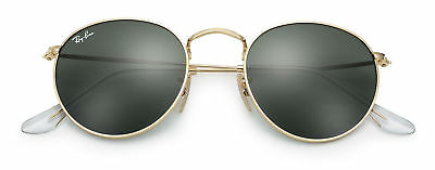 Ray-Ban Round Metal Sunglasses Rb3447 001 50Mm Green G-15 Lens With Gold Frame