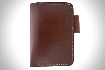 Handmade Leather Notebook Cover with Pen Holder - Dark Brown
