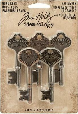 Tim Holtz Idea-Ology ~ HALLOWEEN WORD KEYS ~ Engraved Words Metal 5 pack TH92680