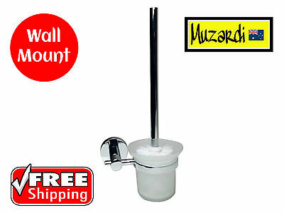 Toilet Brush Holder New Muzardi Polished Chrome Classic Wall Mount Frosted