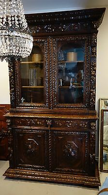 Antique French Libary Bibliotheque black walnut carved grapes harvest ALSACE