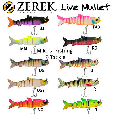 Zerek Live Mullet Jointed Swimbait Soft Fishing Lure - Size 4.5""