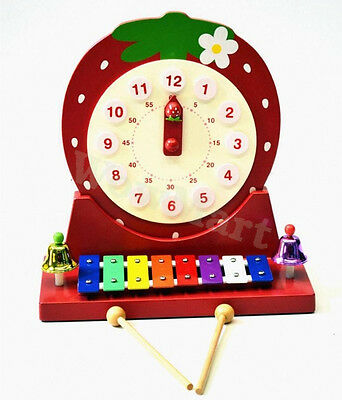 New Kid Pretend Toy Educational Wooden Clock Xylophone