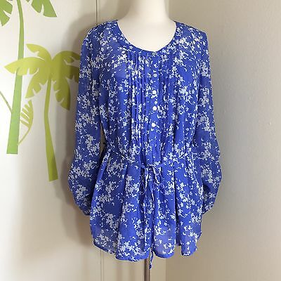 Motherhood Maternity Blue Sheer 3/4 Top Size Large