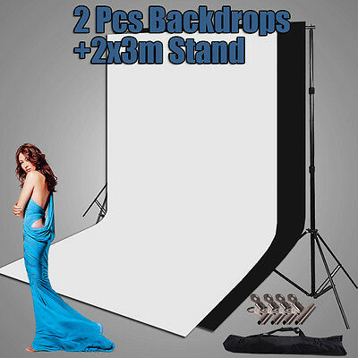 Photo Studio Large 2x3m Black White Backdrop Screen Background Support Stand Set