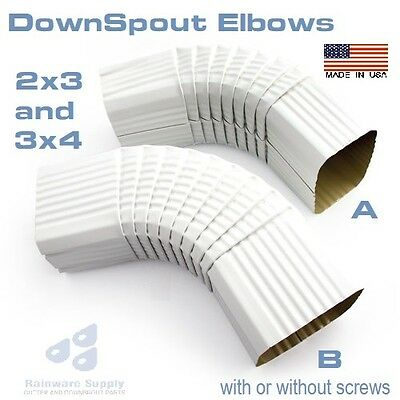 """Gutter Elbow A or B, 2""""x3"""" or 3""""x4"""", downspout aluminum white quantity discounts"""