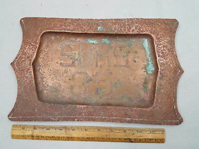 "Fine Unique 13.25x8.5"" VTG Arts and Crafts Mission Hammered Copper Tray SHHS 35"