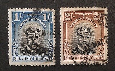 Southern Rhodesia 1924 CAPTAIN 1/- 2/- 1 2 shillings perf 14 SG10 +  SG 12 (2)