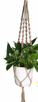 HANDCRAFTED Macrame Pot Plant Hanger 100cm NATURAL Jute Rope Indoor/Outdoor Gift