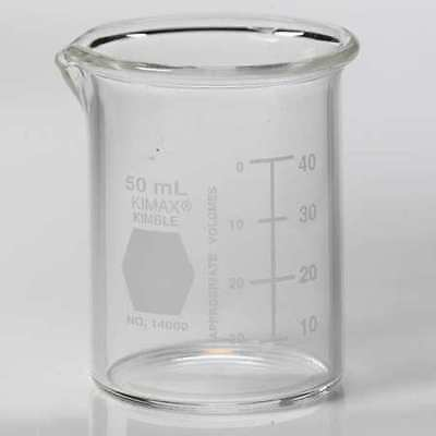 KIMBLE KIMAX 14000-50 Beaker,50mL,Glass,53mm H.,PK48