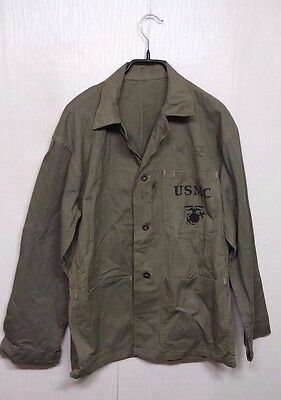 RARE 1940'S Vintage USMC P41 HBT Jacket Shirt Used by ROK Army Military Clothes