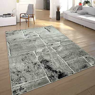 Tapis Design Moderne Tendance Chiné Optique Mur De Pierre Salon Gris