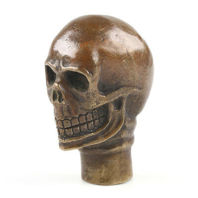 China Collectible Handwork Carving Bronze Skull Statue Cane Head Walking Stick