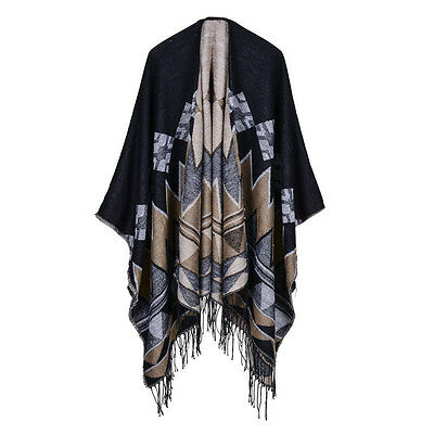 Winter Loose Blanket Retro Fashion Shawl Soft Thick Scarf For WomenBlack Coffee