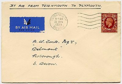 GB 1934 AIRMAIL TEIGNMOUTH to PLYMOUTH 1 1/2d to R.W TURK