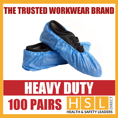 100 PAIRS x HEAVY DUTY DISPOSABLE OVERSHOES, WATERPROOF SHOE COVERS PROTECTORS