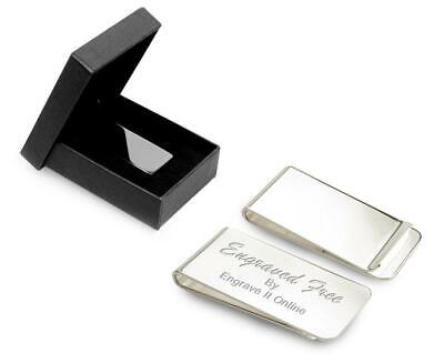 Personalised Silver Plated Money Clip & Luxury Case CAN BE ENGRAVED