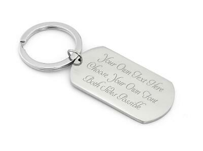 Personalised Solid Steel Dog Tag Keyring for Him/Her In Velvet Pouch - ENGRAVED