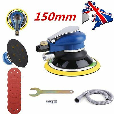 "6"" Air Random Orbital Palm Sander Dual Action Auto Body Orbit With 7 Sandpapers"