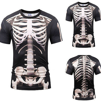 herren halloween skelett printed scary mode shirt casual. Black Bedroom Furniture Sets. Home Design Ideas