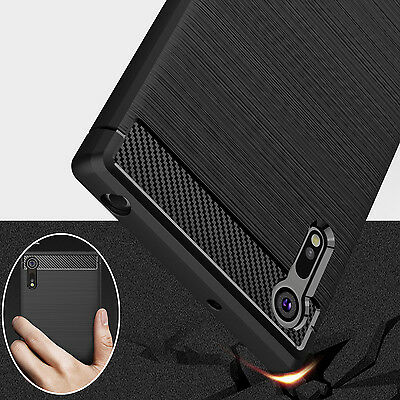 For Sony Xperia XA1 XZ XZ1 Shockproof Armor Carbon Fiber Hybrid Brush Case Cover